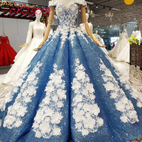 AXJFU luxury princess beading crystal white rose flower blue lace wedding dress vintage boat neck blue wedding dress 1412