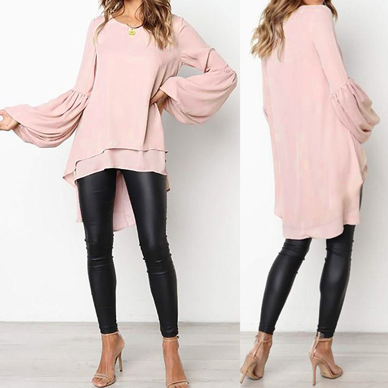 Fashion Women's Asymmetrical Blouse 2019 ZANZEA Elegant Puff Sleeve Tops Layered Blusas Female Solid Blusas Plus Size Tunic Tops