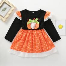 Kids Dresses For Girls Toddler Kid Baby Long Sleeve Halloween Dot Pumpkin Print Princess Dress