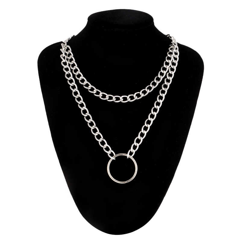Circle Gothic Chain necklace double layer choker collar goth heart pendant necklace women gothic emo kawaii witch rave jewelry