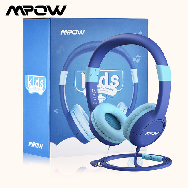 Mpow New Cute Wired Kids Headphones With Microphone Over Ear Hearing Protection Volume Limited Headphones For Kids Girls Boys