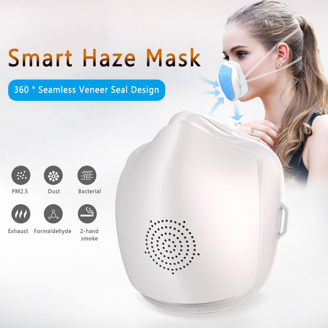 Smart Electric Face Mask Air Purifying Anti Dust Pollution Fresh Air Supply Filter Haze Silicone Seal Electric Fan Mask 2