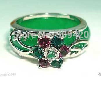 จัดส่งฟรี Charming สีเขียวหยกดอกไม้คริสตัลแหวน 8 #