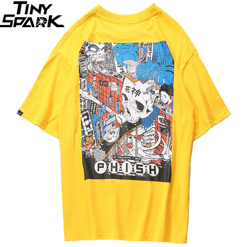 2019 Men Harajuku T Shirt Cartoon Skull Assembly Line T-Shirt Japanese Style Streetwear Oversized Tshirt Summer Tops Tees Cotton
