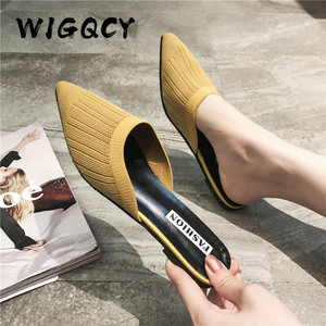 New Women's Summer Solid Toe-covered Slipper Fashion Pointed Woven Breathable Lazy Slippers Flat Sandals Women Mule Slides Shoes(China)