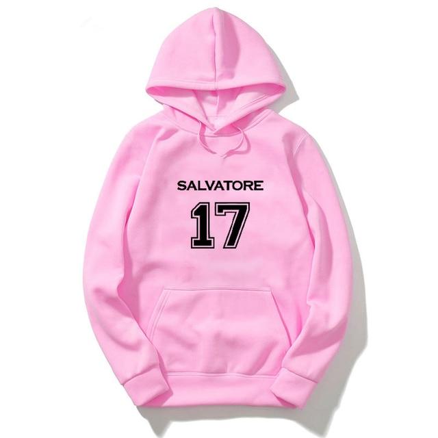 The Vampire Diaries Hoodie Sweatshirt Men Harajuku Hoodies Streetwear Sweatshirts Women Clothes Winter Hip Hop Pink Clothing