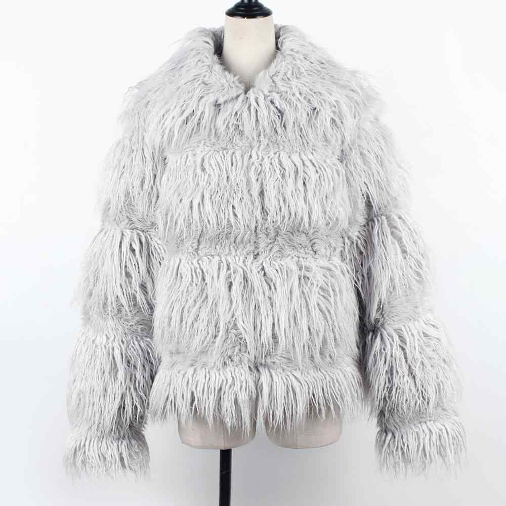 LANSHIFEI Faux Shearling piel de oveja abrigo mujer chaqueta de gamuza de piel gruesa mujer Otoño Invierno Lambs lana corto motocicleta abrigos