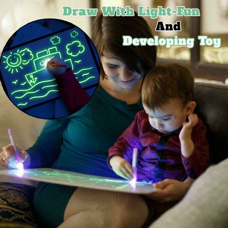 Magic Draw With Light Glow In Dark Children Kids Paint Toy Luminous Drawing Board Sketchpad Set Educational Toys Gifts For Kids