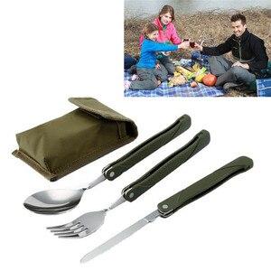 Портативный набор складных столовых приборов из нержавеющей стали, нож с вилкой и армейским зеленым мешком для выживания, походная сумка, контейнер для столовых приборов