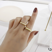 AENSOA New Fashion Punk Matte Gold Color Metal Adjustable Rings For Women Girl Students Mid Finger Knuckle Rings Party Jewelry