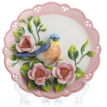 Blue Magpie Decorative Wall Dishes Porcelain Decorative Plates Vintage Home Decor Crafts Room Decoration Gift Figurine R2264