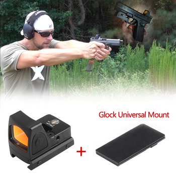 Collimator Scope Red Dot Sight Airsoft Red Dot Sight Scope With Glock Universal Mount Airsoft Hunting Rifle Optical Sight shipping free hot sale 4x32 acog style red fiber rifle scope with mini red dot sight for hunting bwr 046r