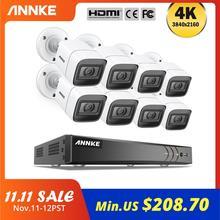 ANNKE 4K FHD 8CH Video Telecamere di Sorveglianza del Sistema H.265 + 4K DVR Con 4X 8X 8MP IR Esterno resistente alle intemperie Telecamera di Sicurezza Kit CCTV