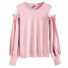 Solid O-neck Pink Sweatshirts 2019 Autumn Fashion White Long-sleeved Pullover Ladies Simple Street Sweatshirt Harajuku