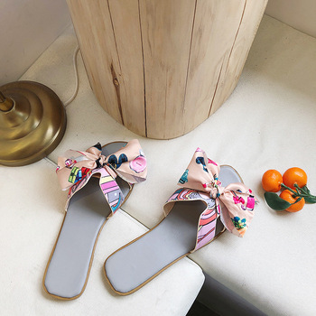 2020 new luxury fashion brand design women's sandals Korean bow flat H-shaped slippers high quality ladies shoes 5