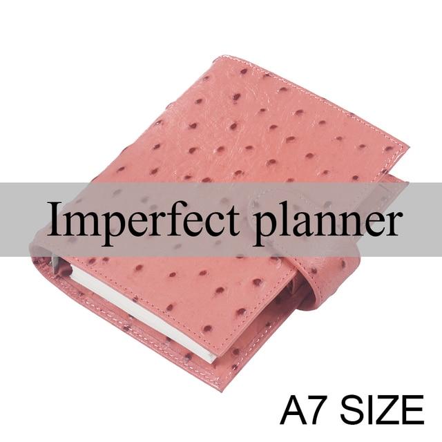 Ograniczona niedoskonała strusia skóra licowa notatnik A7 pierścienie segregator Mini Agenda Organizer skóra bydlęca notes Sketchbook Planner