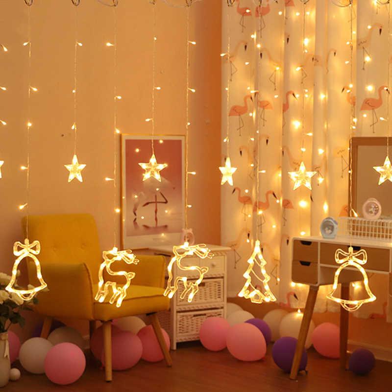 220V EU 플러그 반짝임 문 스타 엘크 크리스마스 Garlands LED 매달려 문자열 조명 새해 크리스마스 트리 파티 장식 조명
