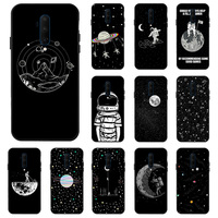 Funda para Oneplus Nord Funda 3D DIY negra pintada para Oneplus 8 7T 7 Pro 6T 6 Funda para teléfono espacio Luna silicona parachoques Funda