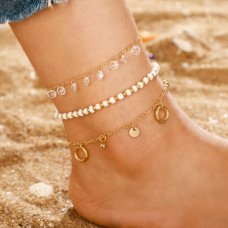 Tocona Charm Shiny Crystal Pendant Anklet Set White Beads Fine Gold Anklets Multilayer Geometric Pendant Foot Chain jewelry 8616