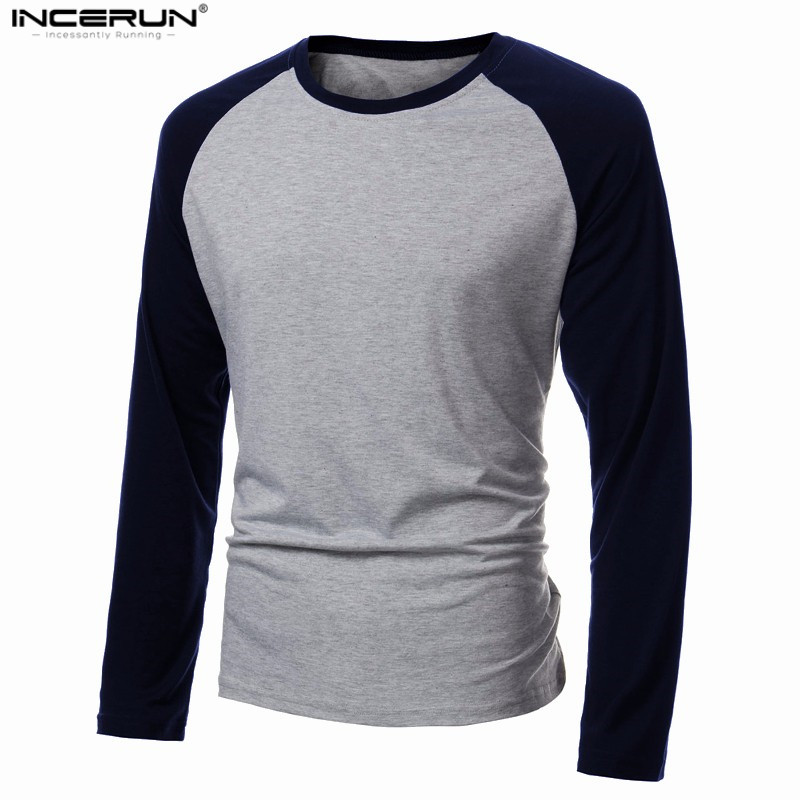 Spring Men's Long Sleeve T Shirt Patchwork O-neck Streetwear Baseball Casual T-shirts Fashion Men Tee Tops Plus Size 4XL 2019