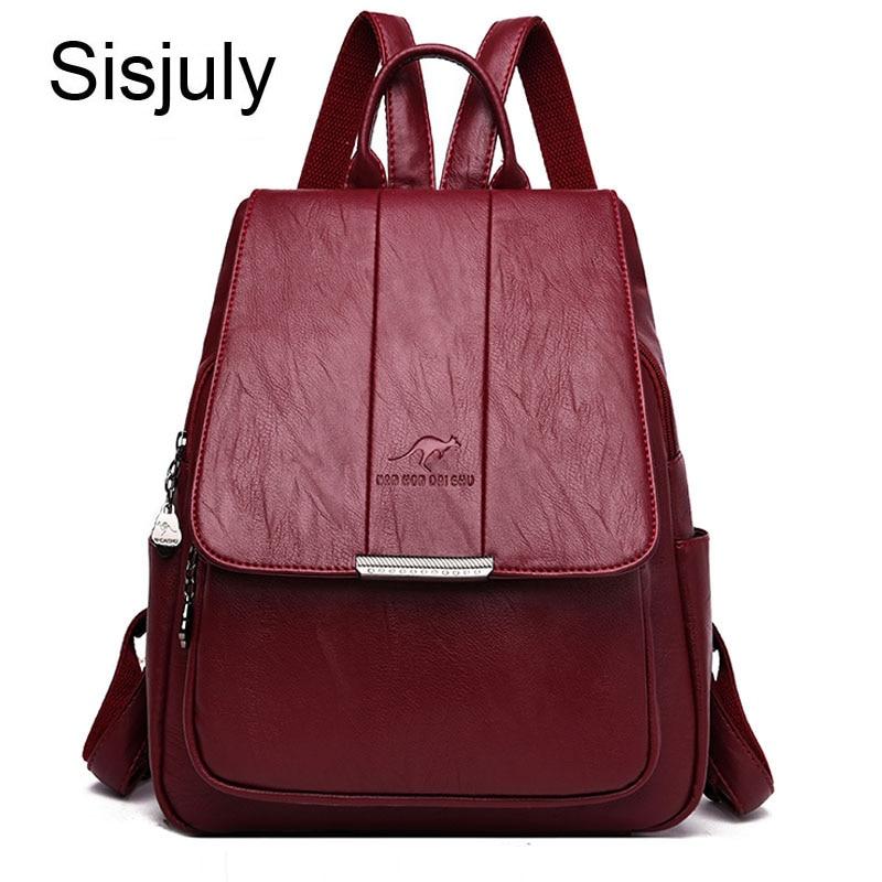 Sisjuly Kangaroo Leather Backpack Women Anti-Theft Bacpack Ladies Laptop Backpack Female Mochilas Mujer 2019