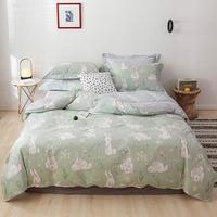 2019 Light Green Bunny Floral Duvet Cover Set High Count Cotton Bedlinens Twin Queen King Flat Sheet Fitted Sheet Bedding