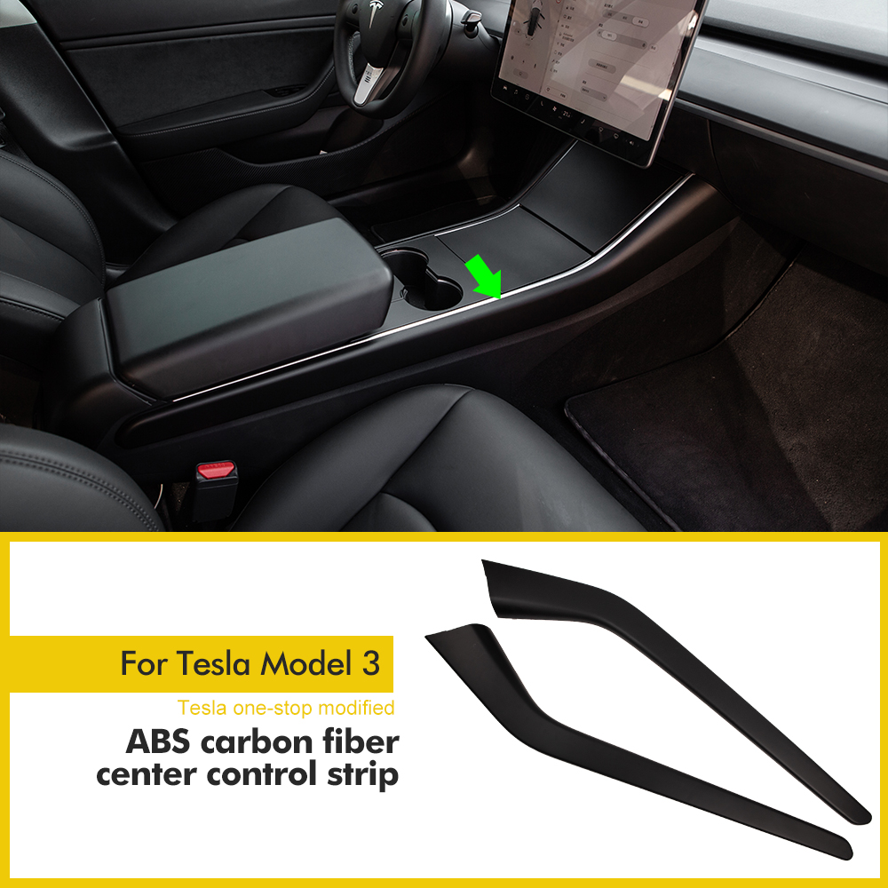 Model3 Car Carbon Fiber ABS Side Control Trim For Tesla Model 3 Accessories Protection Side Edge Film Protector Cover  2017-2020