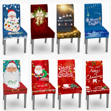 Chair-Covers Stretch Spandex Elastic Dining-Room Home-Decor Christmas Santa-Printed Kitchen