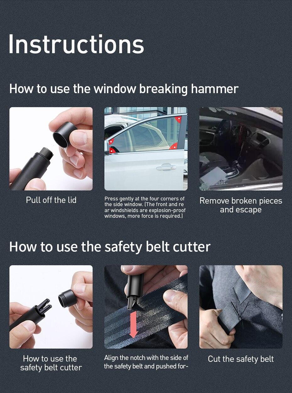 Baseus Mini Car Window Glass Breaker Seat Belt Cutter