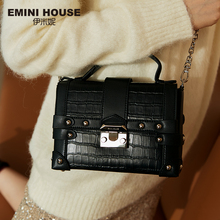 EMINI HOUSE Crocodile Pattern Genuine Leather Box Bag Luxury Handbags Women Bags Designer Rivet Padlock Women Shoulder Bag