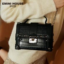 EMINI 하우스 악어 패턴 정품 가죽 상자 가방 럭셔리 핸드백 여성 가방 디자이너 리벳 자물쇠 여성 숄더 백