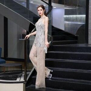 Image 1 - Combinaison de luxe pour femmes, perles lourdes scintillantes, sexy, pantalons formels, tenue de soirée