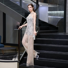 Luxus frauen overall schwere perlen sparkly sexy hosen formale abend tragen
