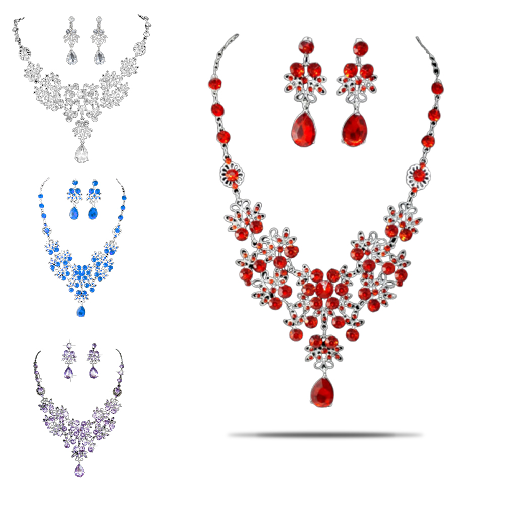 Earring Jewelry-Set Chain Bridal-Necklace Elegant-Accessories Wedding-Party-Pendant Drop-Shape