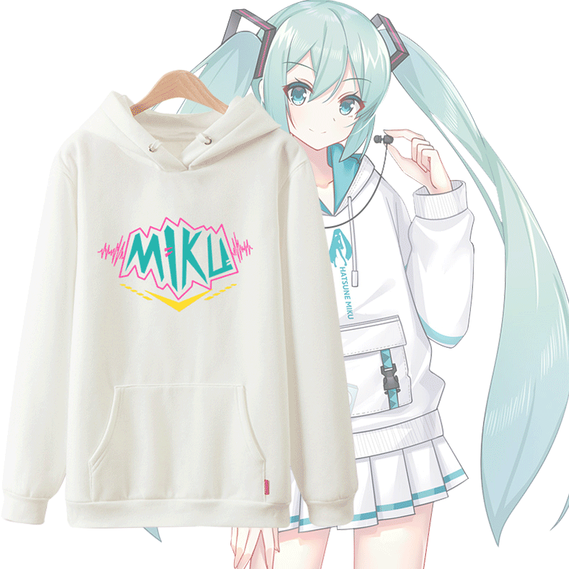 Unisex Anime Cos VOCALOID Hatsune Miku Lovers Casual Pullover Hooded Hoodie Sweatshirts Jumper Coat