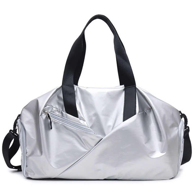 ABZC açık su geçirmez spor spor çantaları erkek kadın kız eğitim spor seyahat el çantası yoga mat çantası kesesi spor gümüş