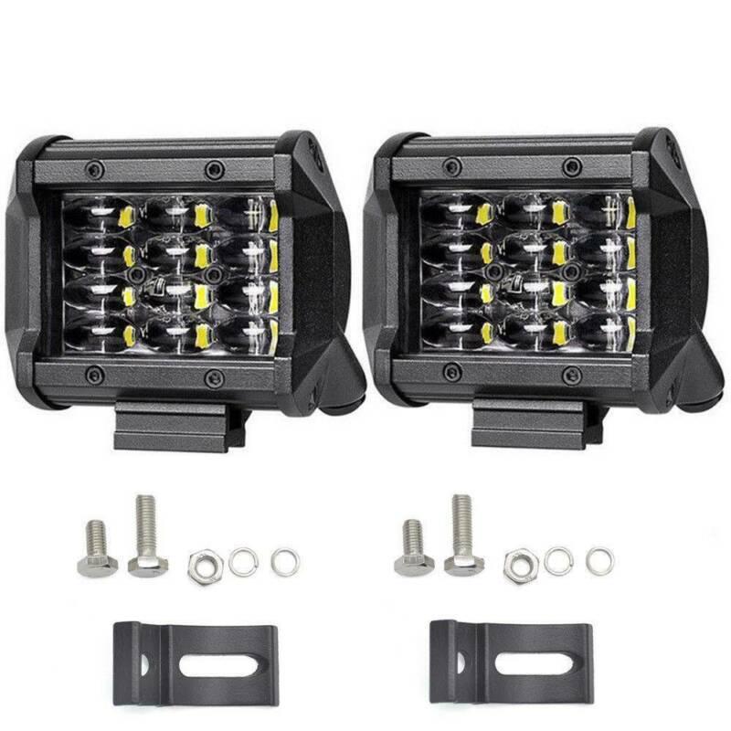 2pcs Car Work Headlight 72W 6000K DC 9~32V Lens 4 Inch 12LED Bulb Lamp Bar Set