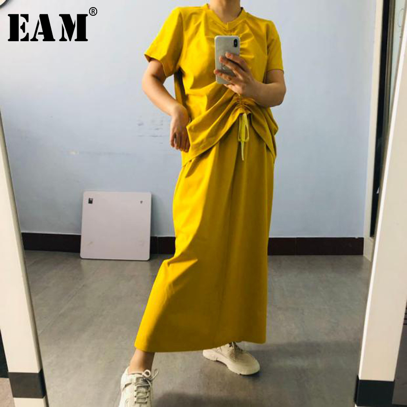 [EAM]  Half-body Skirt Drawstring Two Pieces Suit New Round Neck Short Sleeve Black Loose Women Fashion Spring Summer 2020 1T204