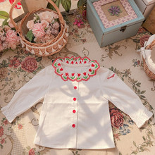 Baby girl spring 2020 long sleeve MP custom tulip embroidery children's shirt retro top western style  toddler  girls  shirt tulip sleeve scallop trim keyhole top