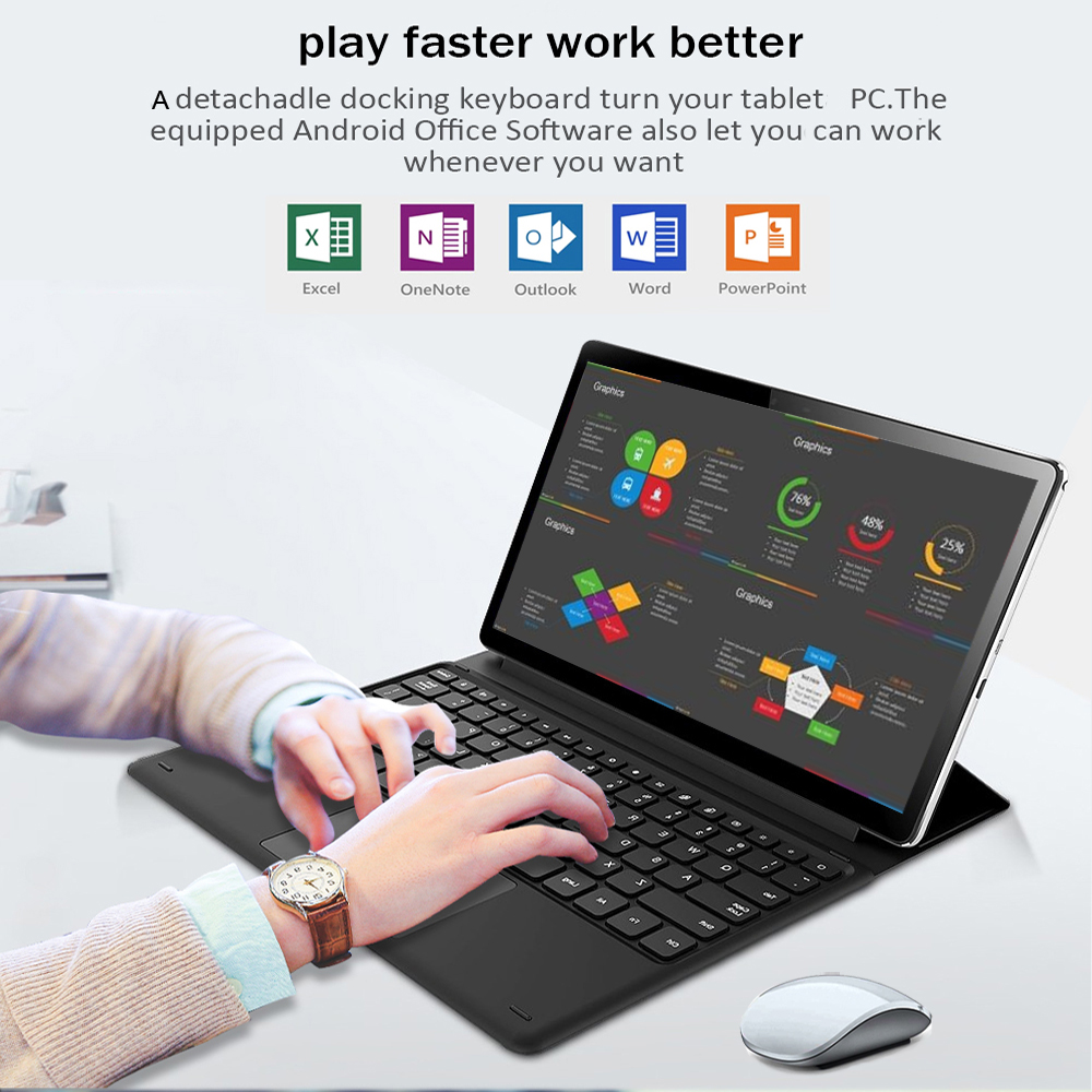 Tablet Laptop 11.6Inch Android Tablet 2 In 1 10 Cores Gaming  Music  Gps Wifi 4G Sim Card Drawing Tablet With Keyboard K20 Pro