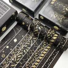 Planner Stationery Sticker Masking-Tape Scrapbooking Diy-Decoration Starry Gold Black