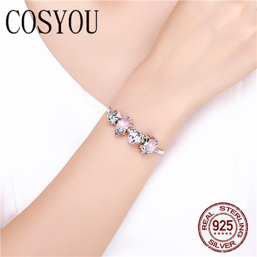 COSYOU 2019 925 argent Sterling jardin fée rose perles de verre européennes bracelets porte bonheur et bracelets bijoux en argent Sterling SCB821 - 5