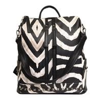 2019 Women Pu Leather Big Backpack High Quality College Student School Bag Printed Leopard Zebra Large Men Bagpack Rock Studded