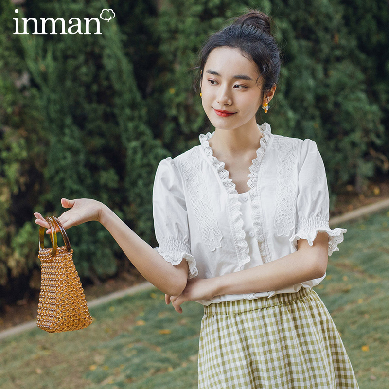 INMAN Retro Style 2020 Summer New Arrival Pure Cotton Splicing Lace Short Sleeve Blouse