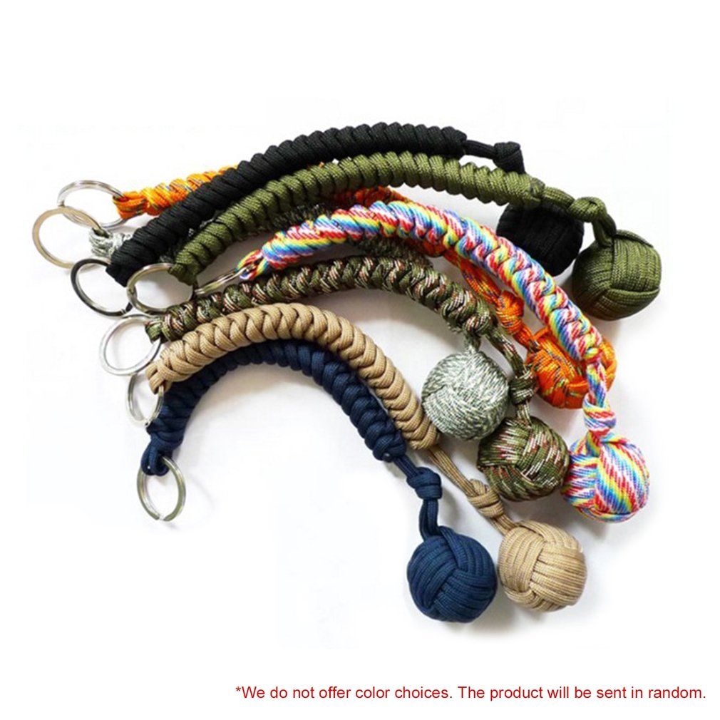 EDC Outdoor Self-defense Survive Knot Ball Pendant 550 Seven-core Umbrella Rope Key Chain Hanging Chain Hand-woven Steel Ball