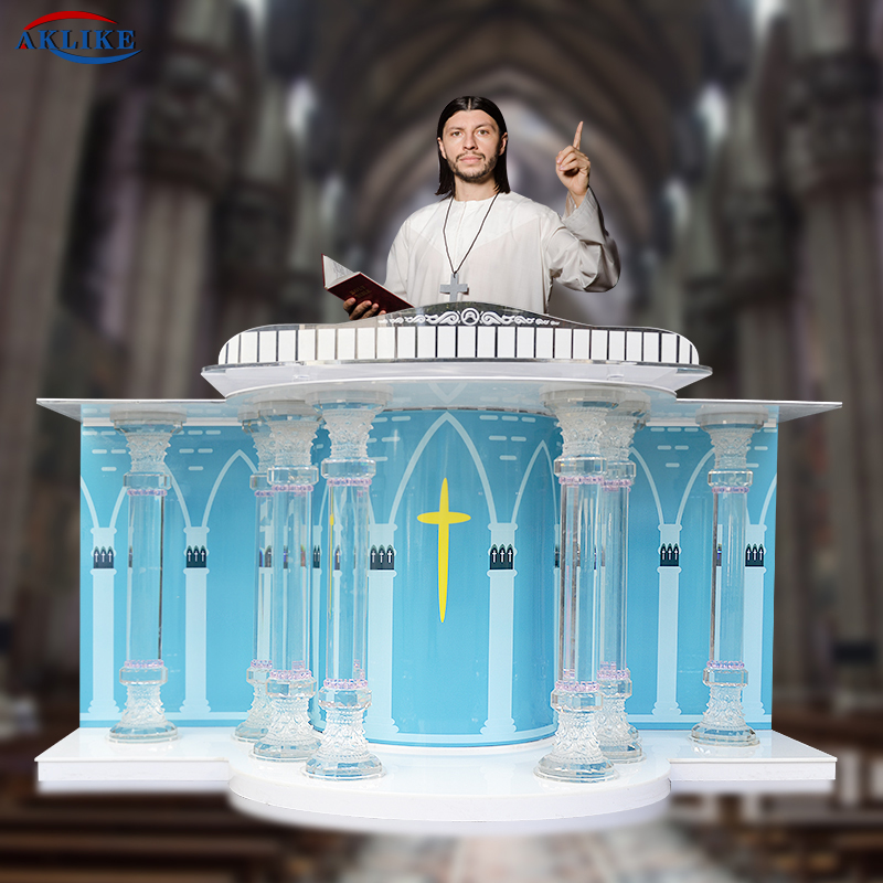 AKLIKE Acrylic Movable Church Pulpit Crystal Table Believer Prayer Table Communion Table Christian Table