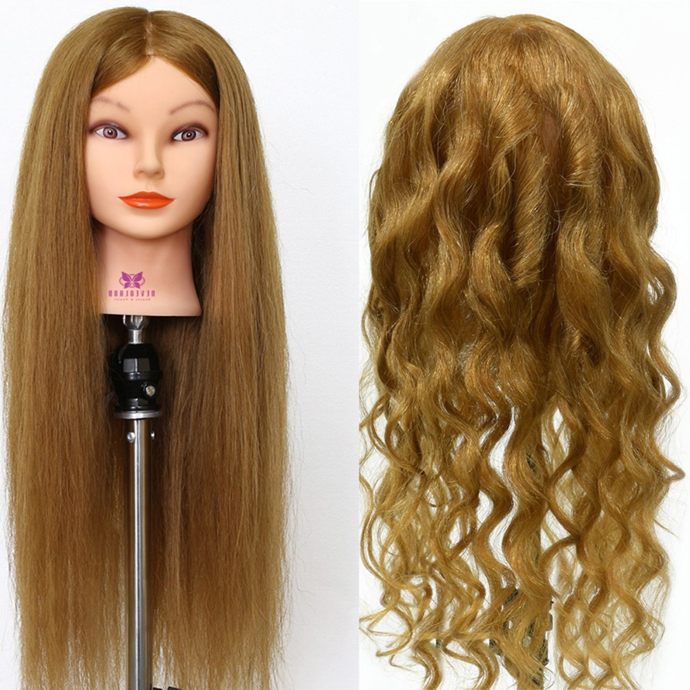 """26"""" White Brown 100% Real Natural Animal Hair For Hairstyles Professional Practice Wig Head For Women Training Mannequin Head"""