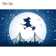Yeele Halloween Horror Moon Witch City Sownflake Photography Backdrop Personalized Photographic Backgrounds For Photo Studio