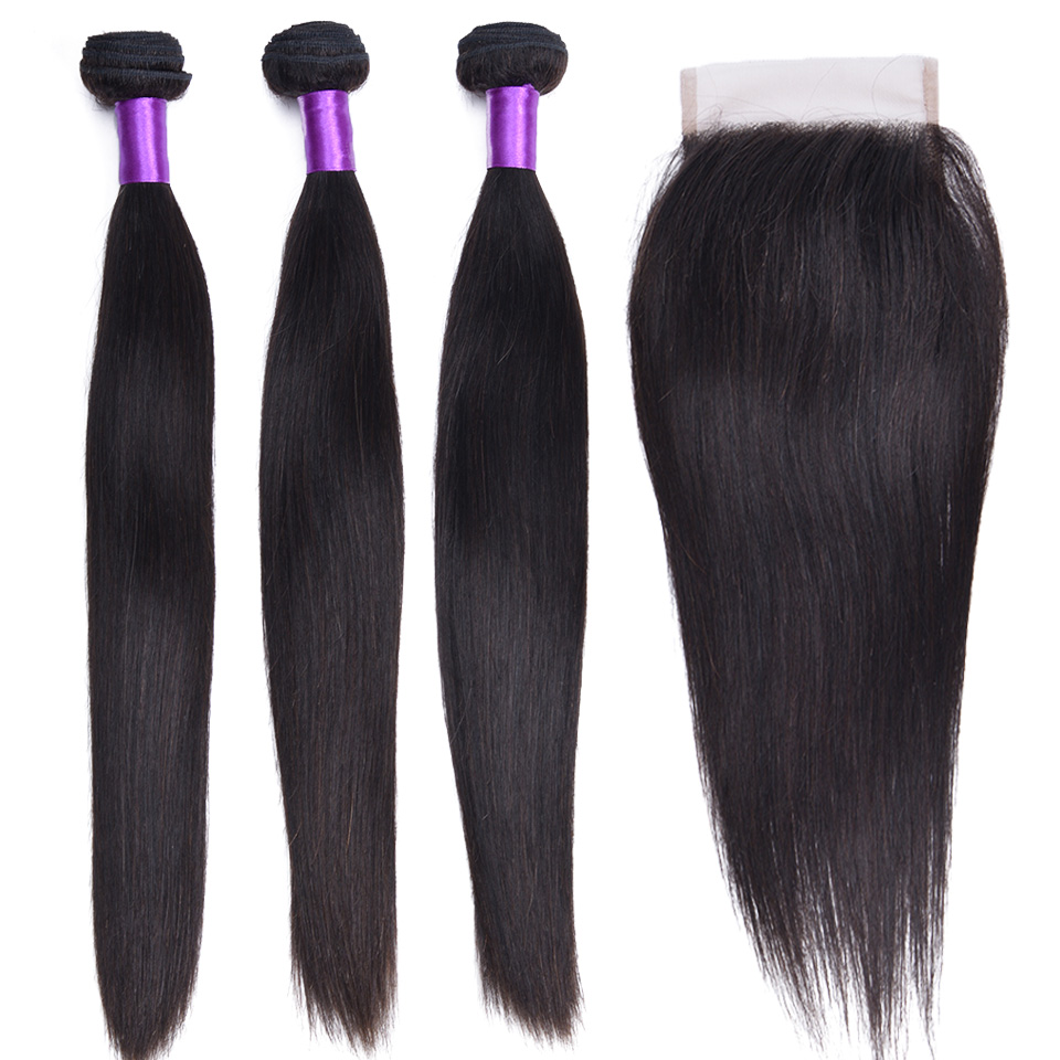Peruvian Straight Hair Bundles With Closure Natural Color Non-Remy Human Hair Weave Bundles With 4x4 Lace Closure