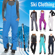 Windproof And Waterproof Ladies Winter Ski Insulated Bib Overalls Solid Color Pocket One-Piece Sling